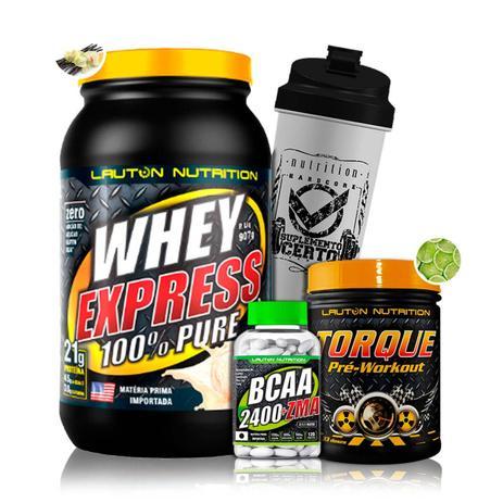 b2b20c3ff Kit Whey Express 907g + Bcaa c Zma + Pré Treino Torque + Coq - Lauton  Nutrition