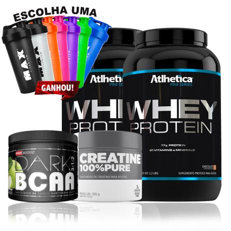 e5bc477bd Kit whey Pro Series + Creatina + Bcaa dark+ Coqueteleira - Atlhetica  nutrition