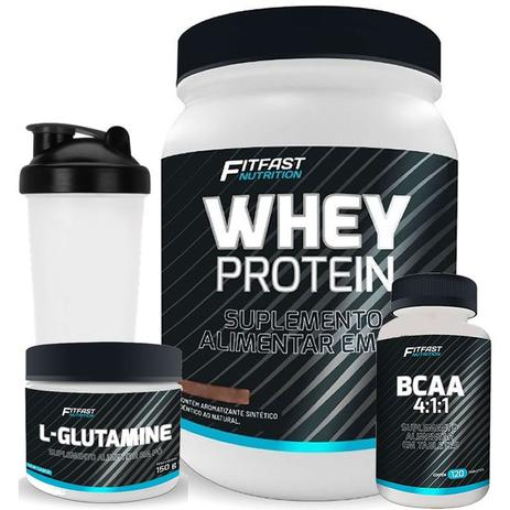 7d0f88c7e Kit Whey Protein 900g + Bcaa 120 Tabs + Glutamina 150g + Coqueteleira Fit  Fast - Fit fast nutrition