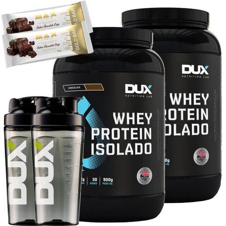 ef7117b7e Kit Whey Protein Isolado 900g + Coqueteleira + Gold Bar Dux - Dux nutrition