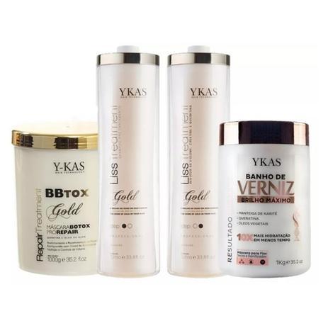 218374425 Kit Ykas Escova Progressiva Ouro 2 Litros + Botox 1 Kg + Verniz 1kg ...