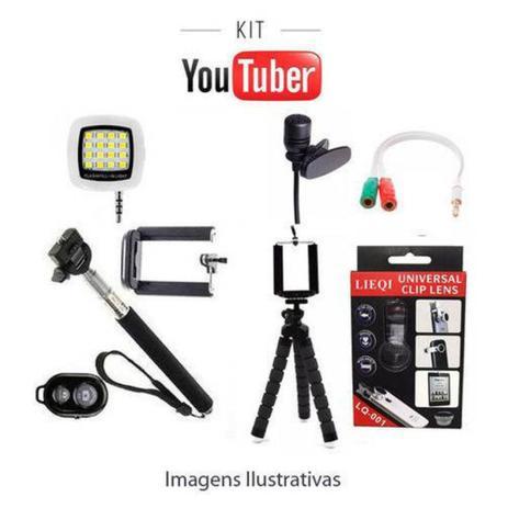 Imagem de Kit Youtuber Básico 9x1 - Selfie Controle Bluetooth + tripé Flexivel Microfone de Lapela Flash
