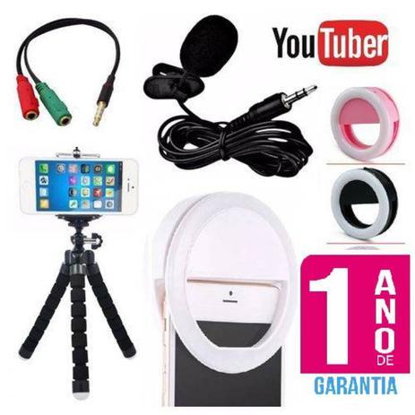 Imagem de Kit Youtuber Microfone De Lapela Para Celular Smartphone + Flash Led Anel Recarregável + Mini Tripé