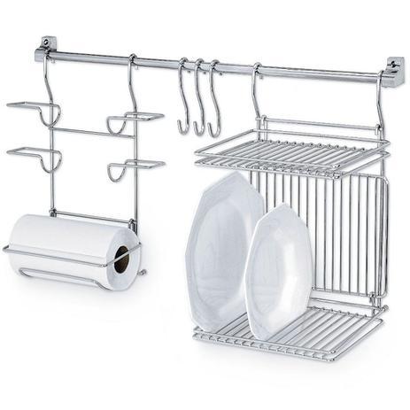 Imagem de Kitchen Set 03 Suporte Porta Rolos Escorredor Pratos Louça