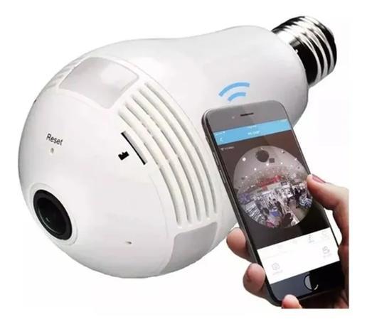 Imagem de Lâmpada Câmera Led Wifi Ip Hd Panorâmica 360º Espiã