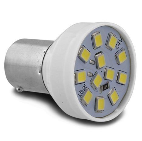 Imagem de Lâmpada LED BA15s-21 1 Polo Trava Reta 12 LEDs 24V Luz Branca Ré Freio Seta e Lanterna Autopoli