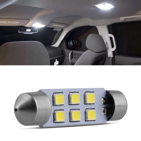 Imagem de Lâmpada LED Torpedo 42mm 6 LEDs 10W 12V Luz Branca Teto e Placa Autopoli