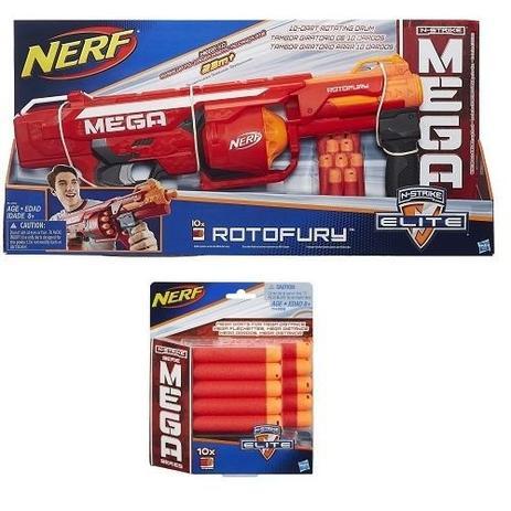 f34506c0e7 Lançador NERF N-STRIKE Mega Rotofury + Refil Dardos Mega Hasbro ...
