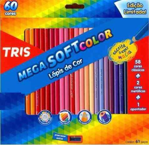cb708a0524 Lapis Cor Tris Mega Soft Color 60 Cores + Apontador - Lápis de Cor ...