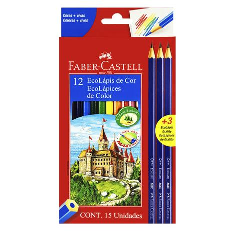 7c21058506 Lápis de Cor 12 Cores + 3 EcoLápis Grafite Faber Castell - Faber-castell