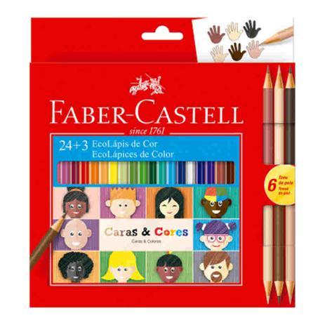 28cef606a3 Lapis De Cor 24 Cores Ecolapis 3 Caras - Faber castell - Lápis de ...