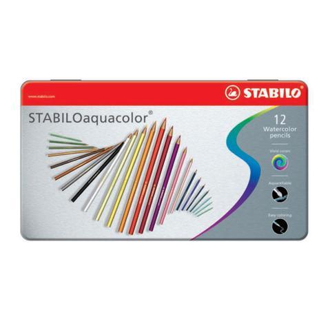 Imagem de Lapis de Cor Aquarelavel 12 Cores Stabilo Aquacolor Caixa Metalica