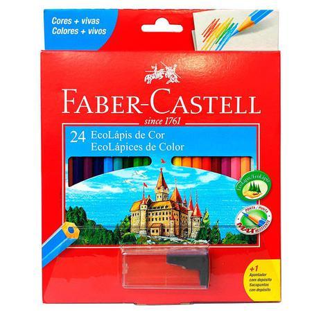 54bd37f5d0 Lápis de Cor Sextavado Faber Castell - 24 cores + Apontador - Lápis ...