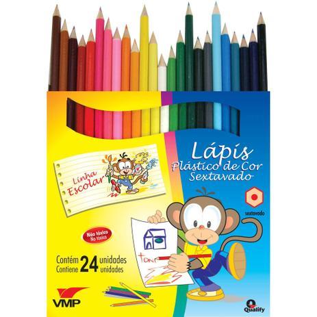 5e5aa708ff Lapis De Cor Sextavado Linha Escolar C 24Cores Pct.C 06 V.M.P. ...