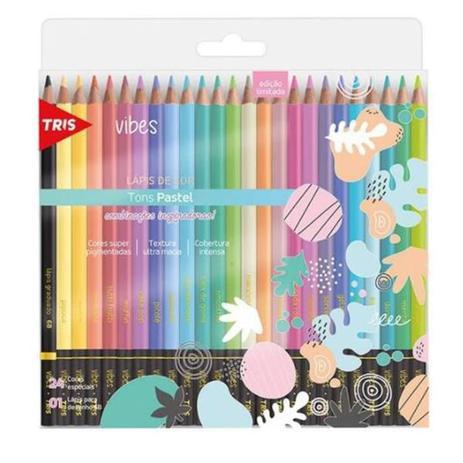 Imagem de Lapis de cor tris 24 cores vibes tons pastel