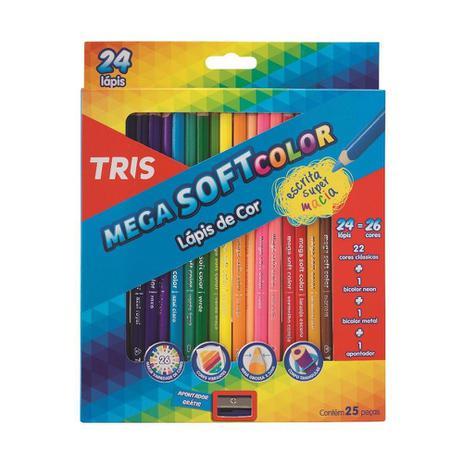 Imagem de Lápis de cor Tris Mega soft Color  24 lapis Com 26 Cores + Apontador