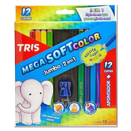 Imagem de Lapis Mega Soft Color Jumbo 12 Cores + 1 Apontador Tris