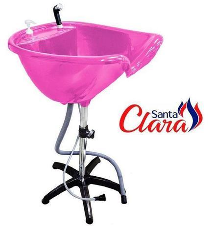 Imagem de Lavatório Portátil Rosa Pink com Pé Fixo para Cabeleireiro - Santa Clara