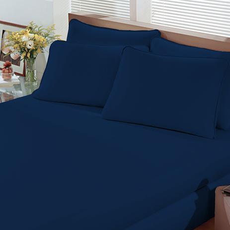 abb0e8cee5 Lençol Avulso Portallar King Malha com Elástico Linha Cores Azul Marinho