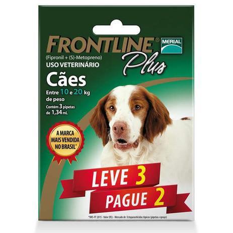 598a5e17f3 Leve 3 Pague 2- Antipulgas e Carrapatos Frontline Plus -Cães 10 a 20kg -  Merial