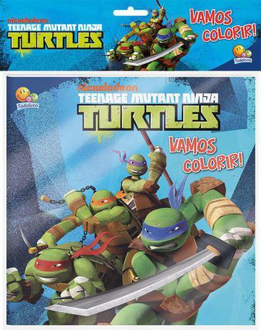Imagem de Livro - Vamos colorir! Kit livro+lápis de cor: Ninja Turtles