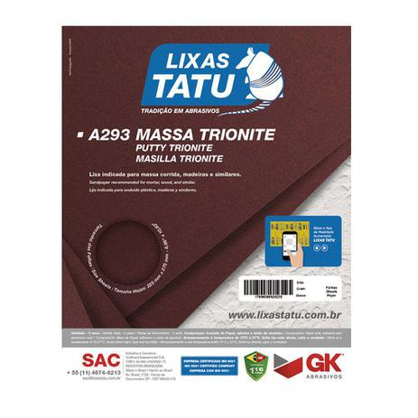 Imagem de Lixa de Massa Parede Madeira Trionite 120 Grãos 50 Folhas Cód.0012