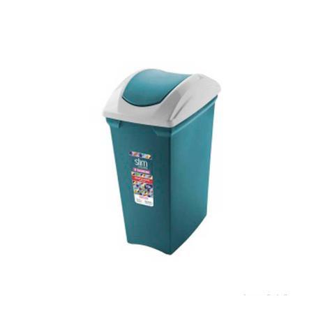 Imagem de Lixeira basculante Slim Color 15 litros azul e branca Sanremo