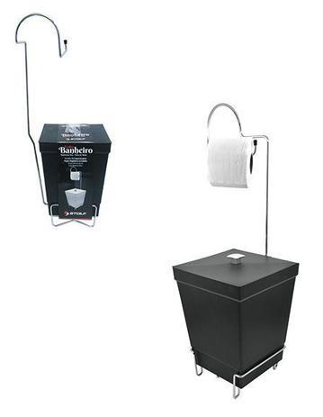Imagem de Lixeira de Chão com Suporte Porta Papel Higiênico Aramado e Cromado 6,5L