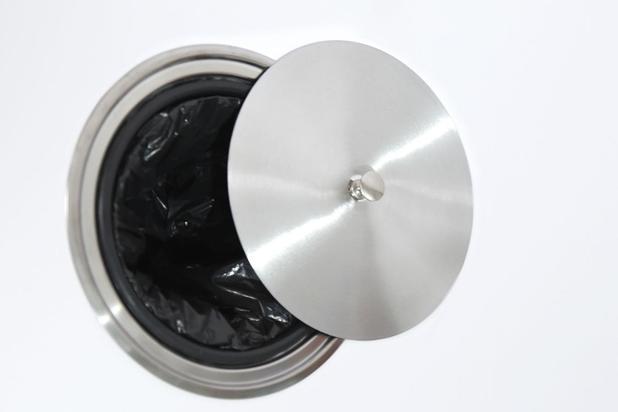 Imagem de Lixeira De Embutir Inox Escovado Balde Plastico 4 Lts