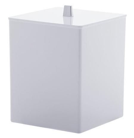 Imagem de Lixeira Quadrada de Acrílico Branco Bagno 7L