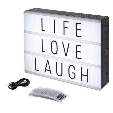 Imagem de Luminária Cinema Light Box Led A4 + 96 Letras Números Ícones