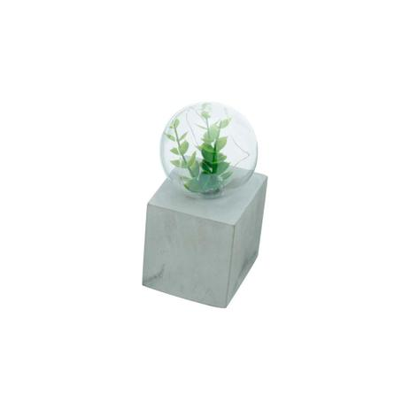 Imagem de Luminária Led com Planta e Base de Concreto Quadrada