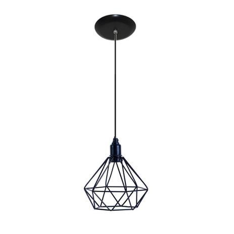 Imagem de Luminaria Pendente Aramado Modelo Diamante - Preto