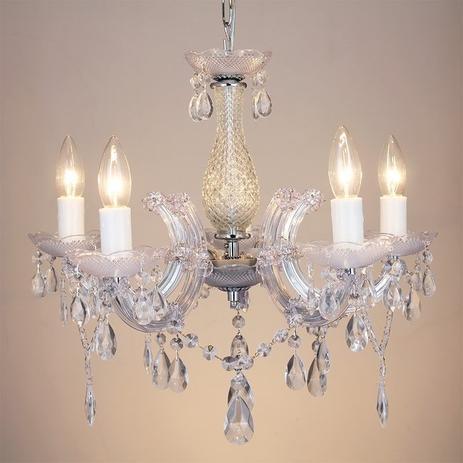 Imagem de Lustre Duchessa Acrílico e Vidro Bella Transparente para 5 Lâmpadas E-14 - KH1065
