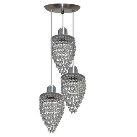 Imagem de Lustre Pendente De Cristal Com 3 Lâmpadas - Modelo Fechado
