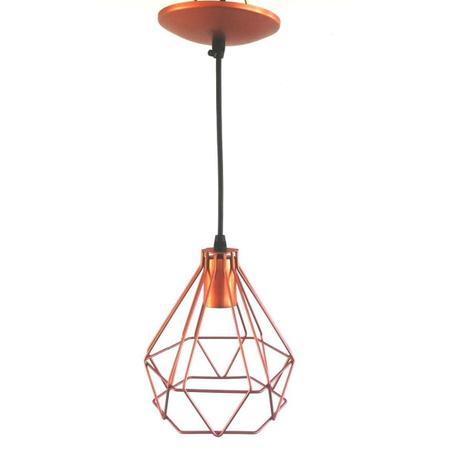 Imagem de Lustre Pendente Diamante Medio 1 Lampada E27(Aço) Cobre