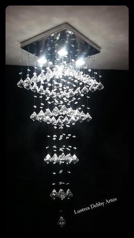 Imagem de Lustre Plafon de Cristal Acrílico - Piões - Base 30x30 - Debby Artes