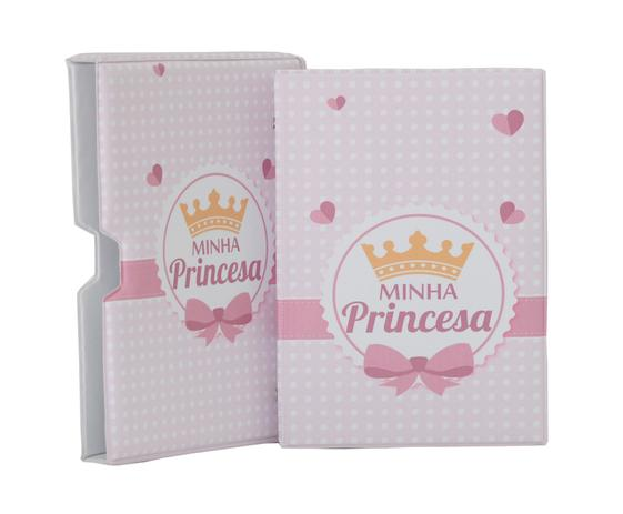 Imagem de Luva MINHA PRINCESA com Álbum fotográfico para 60 fotos 15x21 - Coroa Rosa - Bebê Infantil