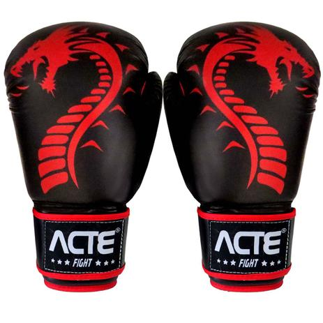 ba7d510af Luvas De Boxe E Muay Thai Dragon Couro Flex Vermelha Acte - Luva de ...
