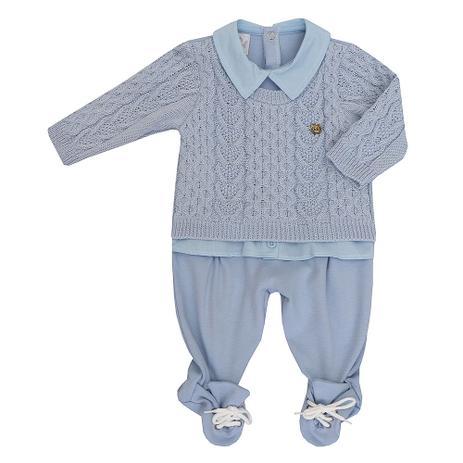 68943a02f3e593 Menor preço em Macacão de Bebê Masculino Suedine e Tricot Gustavo Azul -  Beth bebe