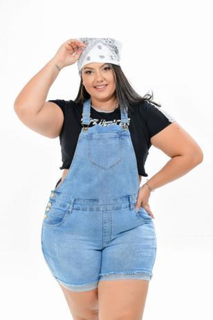 Imagem de Macacão Feminino Jeans Plus Size Cintura Alta