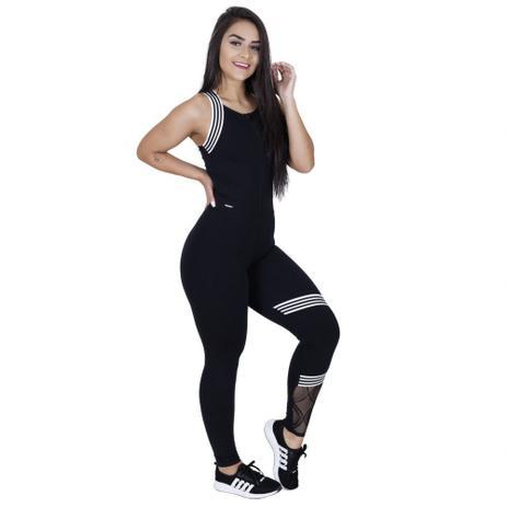 Imagem de Macacão Fitness Feminino Alta Compressão com Zíper Frontal Tela e Elástico Listras Orbis