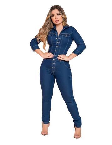Imagem de Macacão Jeans Feminino Longo Luxo Lycra Modeladora 0079