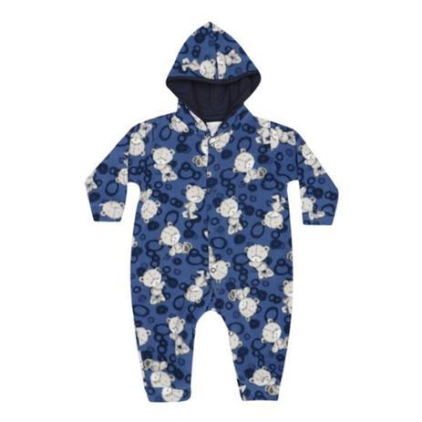 Macacão Manga Longa Soft Ursinhos Marinho e Azul com Capuz - Tieloy baby 41db687a7af