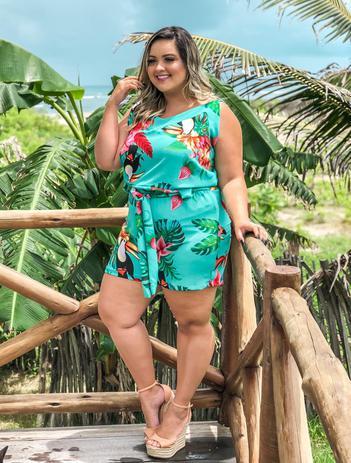 576e34b9f Macaquinho Macacão Feminino Plus Size Lindo Roupas Plus Size - Bellucy modas