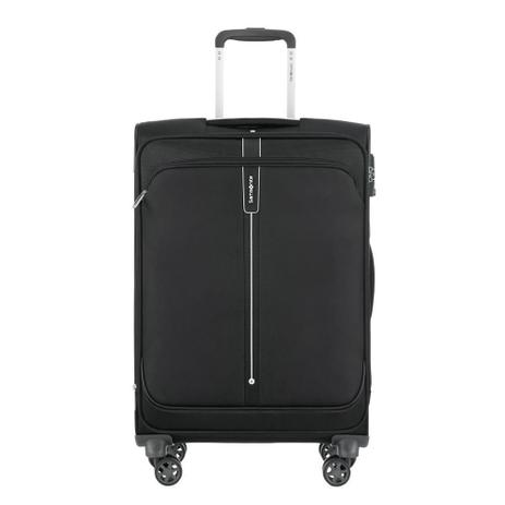 Imagem de Mala de Viagem Media Expansível em Poliéster SAMSONITE Popsoda Cadeado TSA e Rodas Duplas Preta