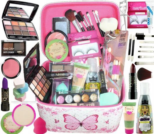 Imagem de Maleta De Maquiagem Completa Base Dalla Vegana Kit Pinceis