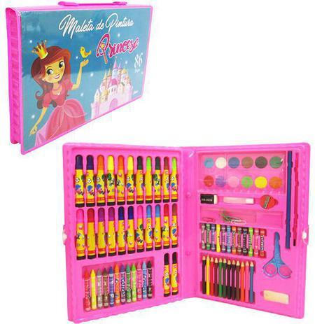 Imagem de Maleta escolar princesa com canetinha e lapis de cor 86 pecas