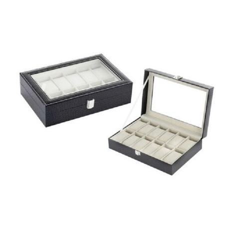 e77be697d Maleta estojo caixa porta relogio organizadora para 12 relogios em madeira  e couro com visor - Faça resolva