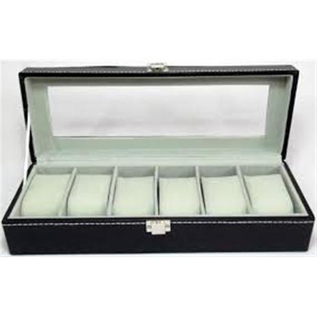 b4ad1883aca Maleta estojo caixa porta relogio para 6 relogios em madeira e couro - Paris